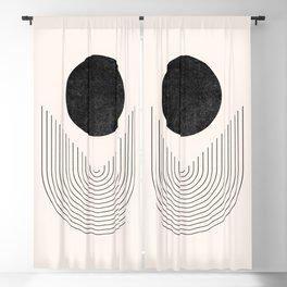 Abstract Geometric Shapes, Rainbow Lines, Abstract Moon - Mid Century Boho Decor, Minimalist Art Blackout Curtain