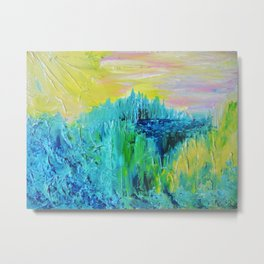 DREAM-SCAPE - Amazing Idyllic Nature Theme Pastel Dream Landscape Abstract Acrylic Painting Metal Print