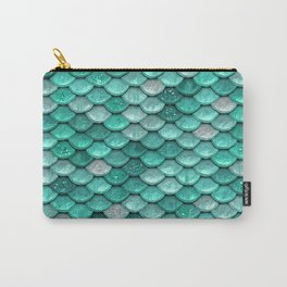 Aqua & Mint Mermaid Glitter Scales - Luxury Mermaid Scales Carry-All Pouch