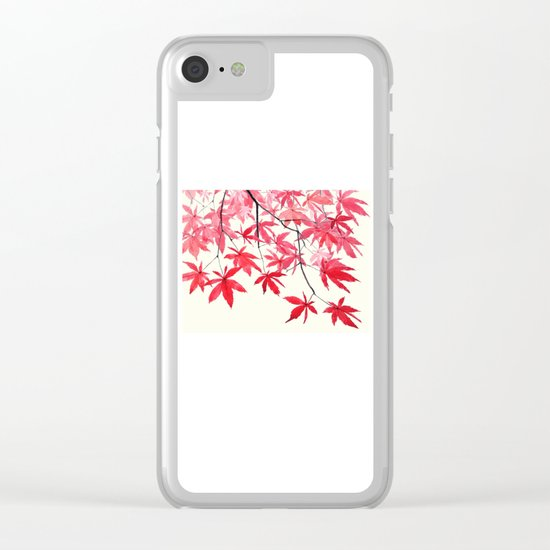 red maple leaves watercolor painting Clear iPhone Case