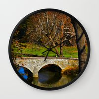 battlefield Wall Clocks featuring Burnside Bridge Antietam Battlefield by Biff Rendar