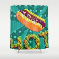 hot dog Shower Curtains featuring HOT by Francesco Messina