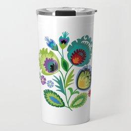 Polish Folk Flowers Green Travel Mug