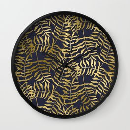 Gold Leaves on Navy Blue Wall Clock