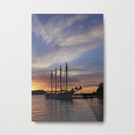 Schooner at sun rise Metal Print