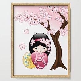 Japanese Spring Kokeshi Doll Serving Tray