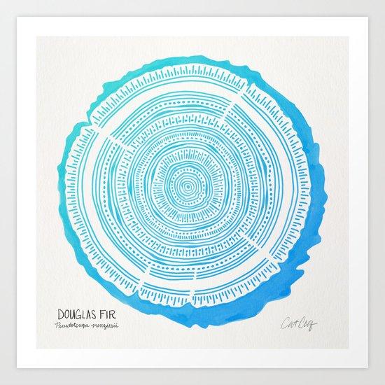 Douglas Fir – Blue Ombré Art Print
