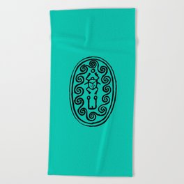 Ancient Egyptian Amulet Turquoise Blue Beach Towel