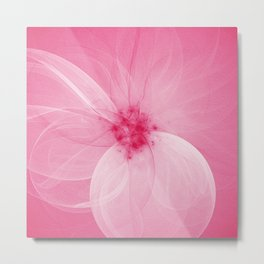 Pink Fairy Blossom Fractal Metal Print