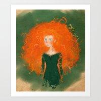 pixar Art Prints featuring Merida from Brave (Pixar - Disney) by Delucienne Maekerr