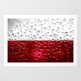 Flag of Poland - Raindrops Art Print