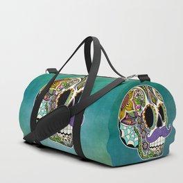 Mustache Sugar Skull Duffle Bag