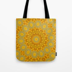You Are My Sunshine II -- Sunflower Botanical Medallion, Mandala, Kaleidoscope Tote Bag