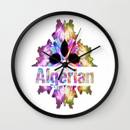 Algerian gift tie dye watercolor  Wall Clock