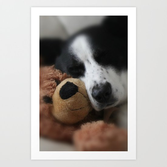 A Dog and his Bear Art Print