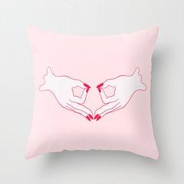 feminist gang sign Throw Pillow