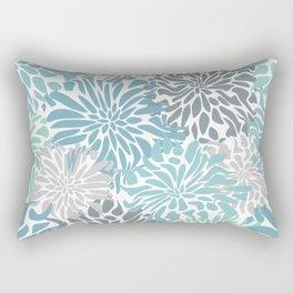 Chic, Flowers Print, Teal, Aqua, Gray Rectangular Pillow