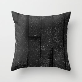 white speckled contrasted bricks - black and white Throw Pillow