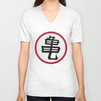 dragonball V-neck T-shirts featuring Turtle School of Martial Arts Kanji, Dragonball Z by Larsonary