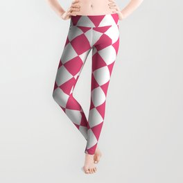 Diamonds - White and Dark Pink Leggings