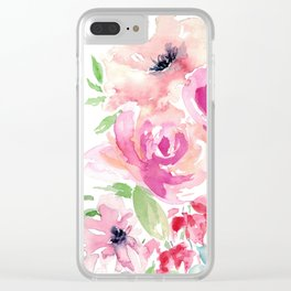 Pink Watercolor Florals with Greenery Clear iPhone Case