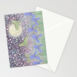 luna moths around the moon with starlit irises Stationery Cards