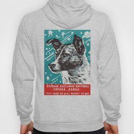 1950s Laika Space Dog Russian Matchbox Label Hoody