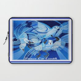 Peace On Earth Greetings With Doves  Laptop Sleeve