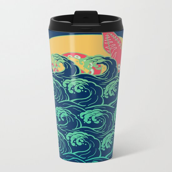 Squid on the waves Metal Travel Mug