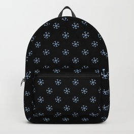 Baby Blue on Black Snowflakes Backpack