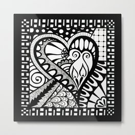Abstract heart doodle Metal Print