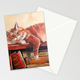 Red cat on a bookshelf Stationery Cards