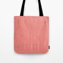Modern geometric triangles faux rose gold coral pattern Tote Bag