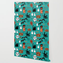 Cute Frankenstein and friends teal #halloween Wallpaper