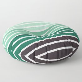 Watercolor Gouache Mid Century Modern Minimalist Colorful Deep Green Stripes Floor Pillow