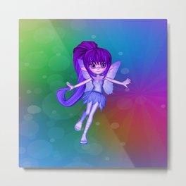 Cute Little Rainbow Fairy Elf Metal Print