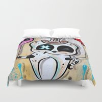 dentist Duvet Covers featuring Toothy by Nat Chamberlin