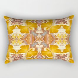 Vintage Golden Autumn Fall Floral Psychedelic Retro Print Rectangular Pillow