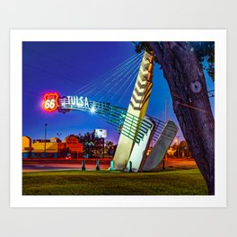Tulsa Western Gateway Arch and Neon Lights Along Route 66 Art Print