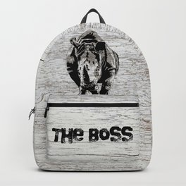 Rhino The Boss with wood background Backpack