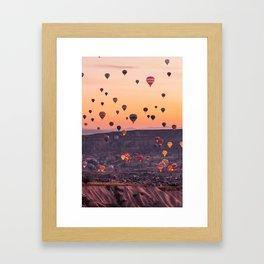 Colourfull Hot Air Ballons landsxaping from Cappadocia Framed Art Print