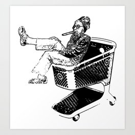 Grandma Shopping Cart Surfer Art Print