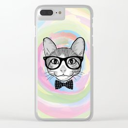Black White Cat Hipster and the Watercolor Rainbow Circle Clear iPhone Case