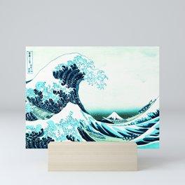the great wave : aqua teal Mini Art Print