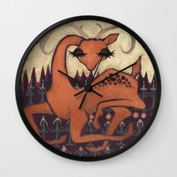 antler Wall Clocks featuring Antler Deer by Jennifer Leedy Steiner