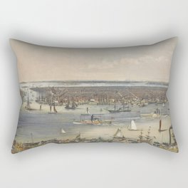 Vintage Pictorial Map of New York City (1848) Rectangular Pillow
