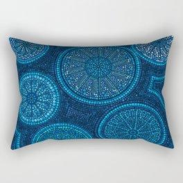 Dot Art Circles Abstract Blue Rectangular Pillow