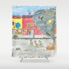 Happy Town V Shower Curtain