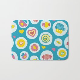 Blue circles sweet love  Bath Mat