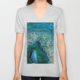 Aqua turquoise agate mineral gem stone - Beautiful Backdrop Unisex V-Neck